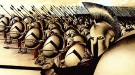 """Formación de hoplitas espartanos en """"300"""" de Frank Miller"""